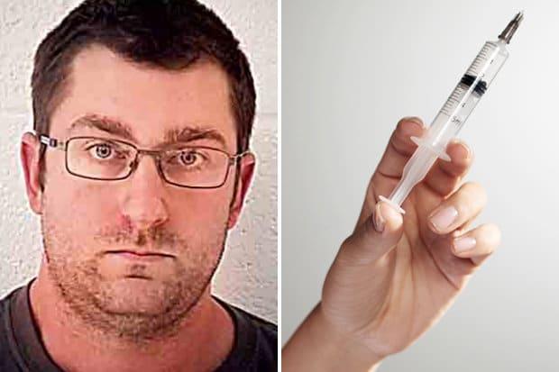man injects semen