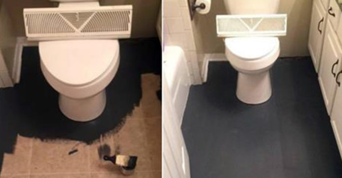 Mom Dumps Black Paint On Floor Draws Fake Tiles And Transforms Her