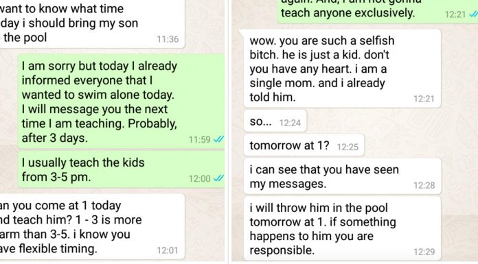 lady demands swimming instructor