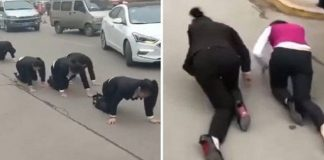 employees forced to crawl street