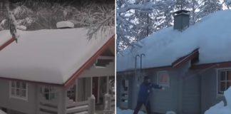 remove heavy snow roof rope