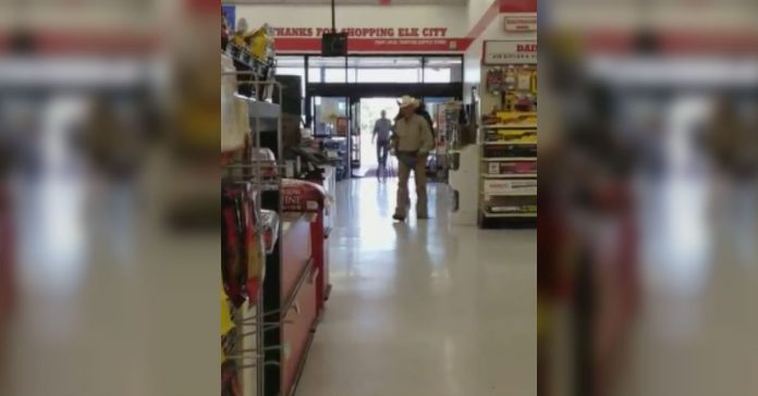 man brings horse to store