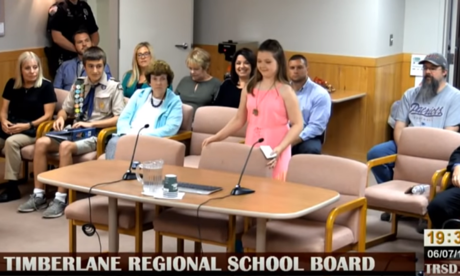 Delanie Marcotte School Board Meeting