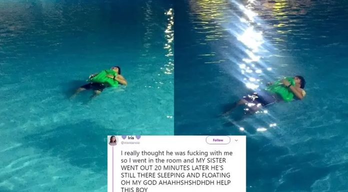 man sleeps in the pool
