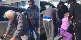 3 Young Men Help Shaky Elderly Couple